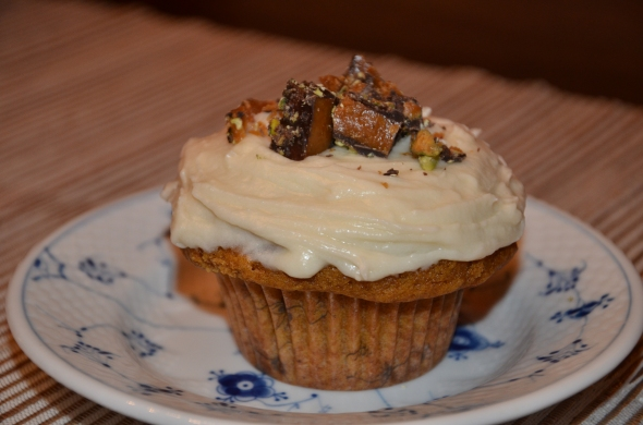 Ina's Pumpkin Cupcakes with Maple Frosting and Toffee Crunch
