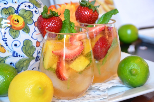 Cava Sangria with Brandied Fruit and Garden Mint