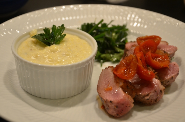 Pan Seared Duck Breast with Pickled Maine Rosehips, Mascarpone Polenta and Micro Salad