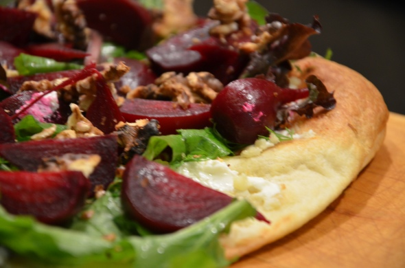 Baby Beet and Goat Cheese Pizza with Dill and Roasted Walnuts