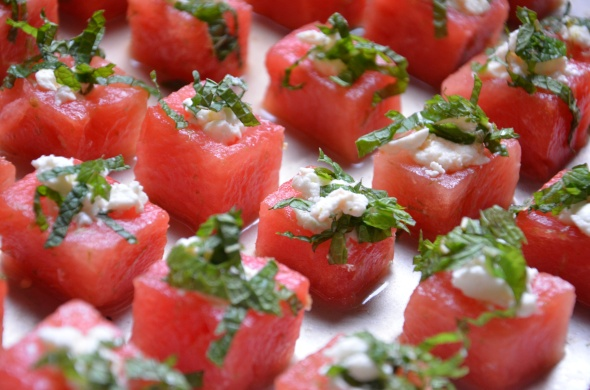 Lime Infused Watermelon with Minted Feta