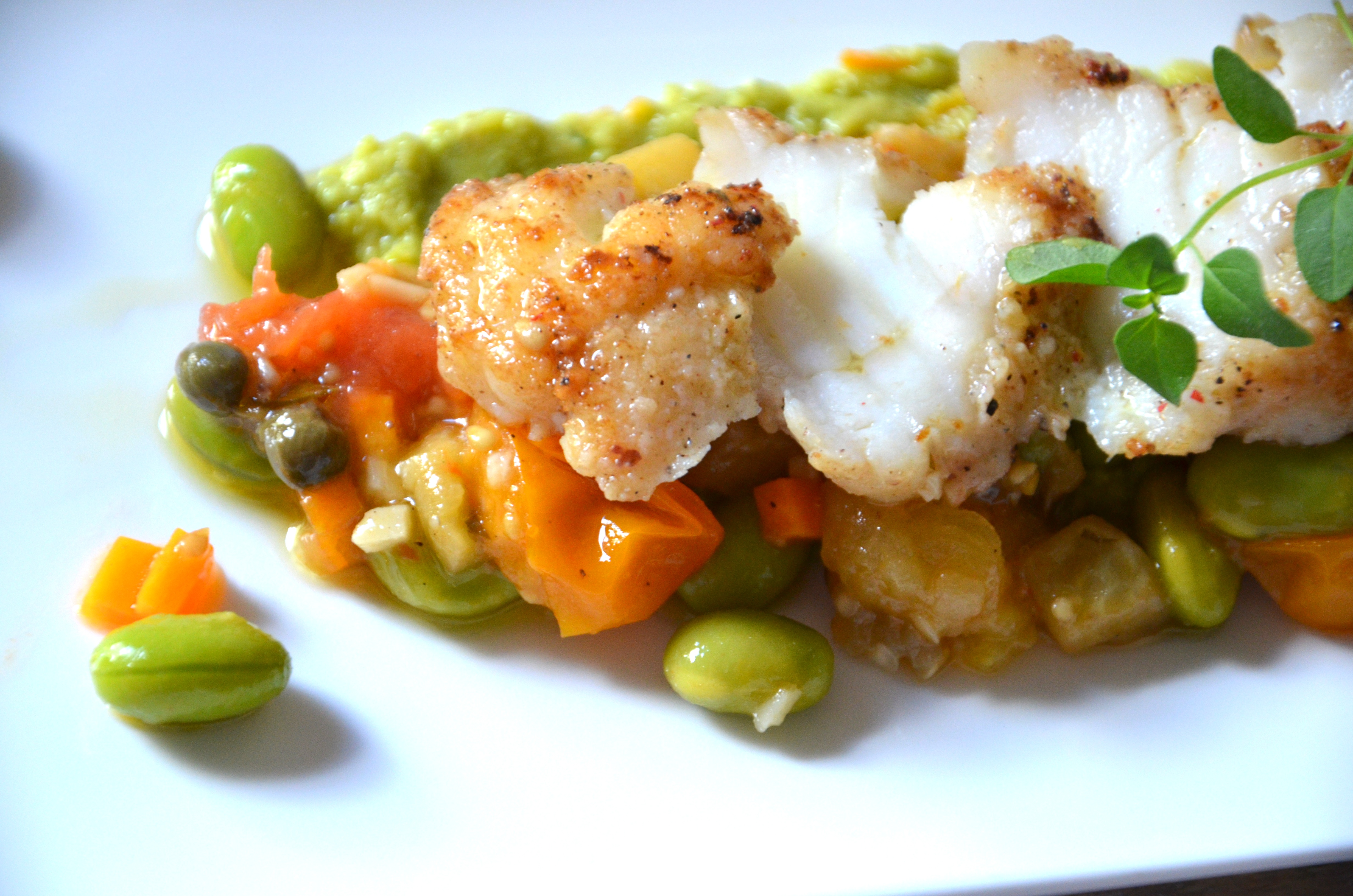Pan roasted monkfish with siena farms summer vegetables for Monk fish recipes