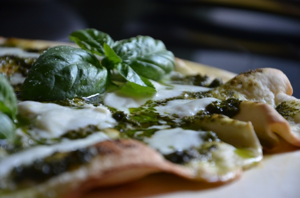 Garden Pesto Pizza with Roasted Pignoli and Buffalo Mozzarella