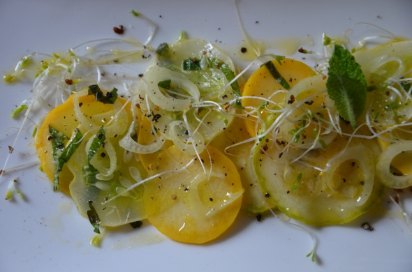 Raw Summer Squash and Cucumber Salad with Shaved Fennel and Mint