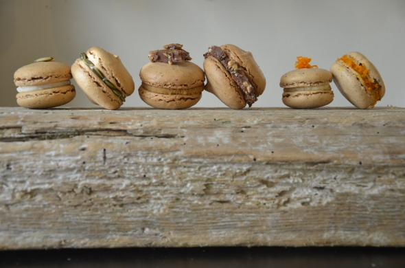 Autumn Macaron Trio: Pumpkin Pie with Maple Creme, Maple Sugar with Pumpkin Ganache, Cumin with Citrus and Anise Mascarpone