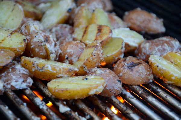 Parboil your potatoes and let them soak up the marinade while still warm
