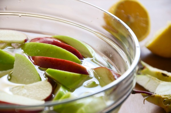 Brine your apple wedges in 3 cups ice water: 2 Tbs lemon juice to keep the flesh white and bring out tartness